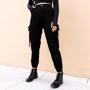 Pants - High Waisted Techwear Cargo Pants 🖤 Black Joggers